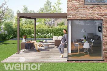 Foto van een Weinor Pure glasdak, terrasoverkapping, veranda, tuinkamer, ter selectie van een veelvoud aan glasdaken, overkappingen en tuinkamers bij de tuinkamer specialist, zijnde Voorberg Zonwering & Buitenleven te Maassluis.