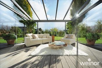 Foto van een Weinor Terrazza Originale glasdak, terrasoverkapping, veranda, tuinkamer, ter selectie van een veelvoud aan glasdaken, overkappingen en tuinkamers bij de tuinkamer specialist, zijnde Voorberg Zonwering & Buitenleven te Maassluis.